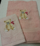TEDDY PERSONALISED TOWEL SET - DEEP PINK BOW